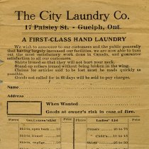 Image of Order Form, The City Laundry Co.