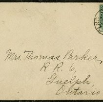 Image of Black-bordered Envelope addressed to Mrs. Thomas Parker