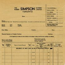 Image of Order Form, The Robert Simpson Eastern Ltd., Toronto