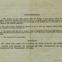 "Image of Back of Licence, ""Conditions"""