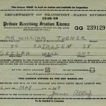 Image of Private Receiving Station Licence Issued to Wm. Turner