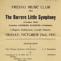 "Image of Program, ""The Barrere Little Symphony,"" Oct. 23, 1931"