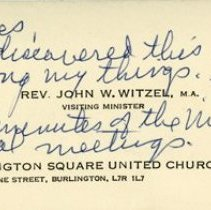 Image of Business Card of Rev. John W. Witzel