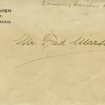 Image of Envelope addressed to Mr. Fred Marsh