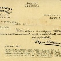Image of .3 Letter to F.O. Marsh from Marion & Marion, Aug. 24, 1909