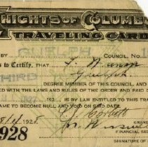 Image of Knights of Columbus Travelling Card, 1928