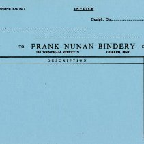 Image of Blank Invoice, Frank Nunan Bindery