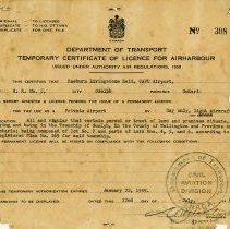 Image of Temporary Certificate of Licence fro Air Harbour, July 1948