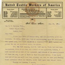 Image of Letter to C.H.  Gethin from United Textile Workers of America, 1911