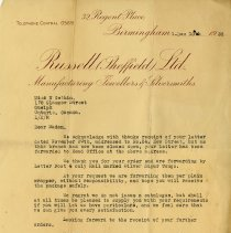 Image of Letter to Miss N. Gethin from Russell Sheffield Ltd., 1938