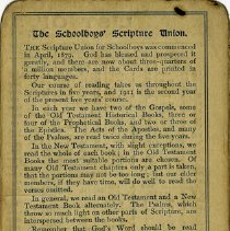 Image of Brief History of The Schoolboys' Scripture Union, back of card