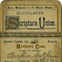 Image of Schoolboys' Scripture Union Members' Card, 1912