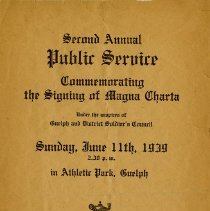 Image of Program, 2nd Annual Public Service for the Magna Carta, 1939