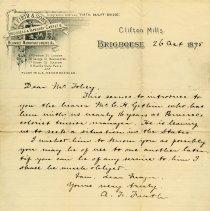 Image of Letter regarding C.H. Gethin, 1895