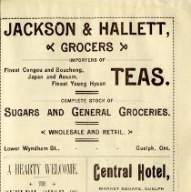 Image of Jackson & Hallett, Grocers; Central Hotel; Guelph Shoe Co., p.15