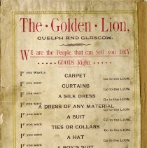 Image of Advertisement for The Golden Lion, back cover