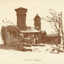 "Image of Sketch of ""C.N.R. Depot"" on Note-card"
