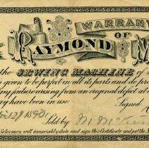 Image of Raymond Sewing Machine Warranty, 1890