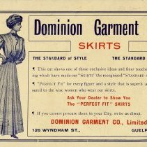Image of Ad for Dominion Garment Co., Limited, inside front cover