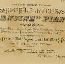 Image of Back of Advertising Card, Rainer & Co.