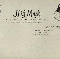 Image of Letterhead, H.G. Mack, Guelph Bird Breeder