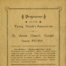 Image of Programme of The Young People's Association, St. James Church, 1913-14