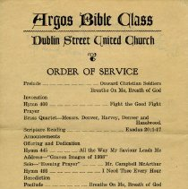 Image of Argos Bible Class Order of Service, 1938