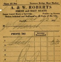 Image of Counter Bill from A. & W. Roberts, 1929