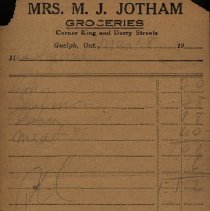 Image of Bill of Sale from Mrs. Jotham, Groceries