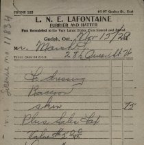 Image of Counter Bill, L.N.E LaFontaine, Furrier and Hatter, 1929