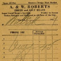 Image of Counter Bill, A. & W. Roberts, 1929