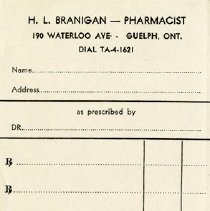 Image of Prescription Receipt, H. L. Branigan, Pharmacist