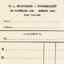 Image of Prescription Receipt, H. L. Branigan