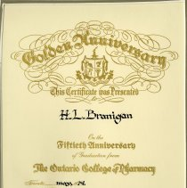 Image of Golden Anniversary Certificate, The Ontario College of Pharmacy, 1974