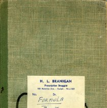 Image of Formula Book, H. L. Branigan, Druggist, c.1948