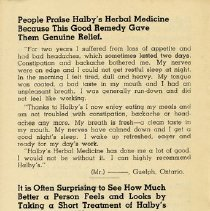 Image of Back cover of Halby's Advertising Flyer