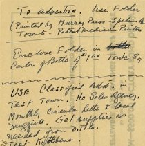 """Image of H.L. Branigan's Note, Re Advertising 'McKee's Remedy"""""""