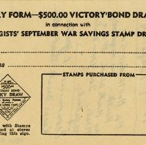 Image of Entry Form, Victory Bond Draw