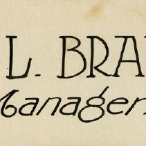 "Image of Sign,""Harry L. Branigan, Manager"""
