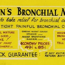 "Image of Advertising Poster, ""Branigan's Bronchian Mixture"""