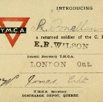Image of Y.M.C.A Card for Returned Solider of the C.E.F.