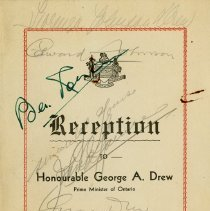 Image of Program for Reception for George A. Drew, 1943