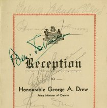 Image of Reception Program for Honourable George A. Drew, 1943