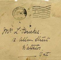 Image of .1 - Envelope, Mrs. L. Bricker, 12 Allan St. Waterloo