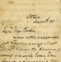 Image of Letter to Miss Bricker from C. Jackson Booth, Dec. 25, 1888