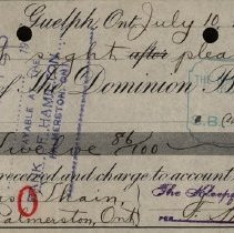 Image of Bank Receipt from Dominion Bank, 1918