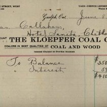 Image of Invoice from the Kloepfer Coal Co., 1914