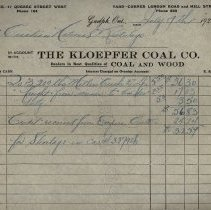 Image of Invoice from Kloepfer Coal Co., 1924