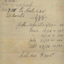 Image of Handwritten notes re account of Jas. Shepherd