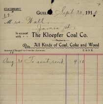 Image of Statement from Kloepfer Coal Co., 1910